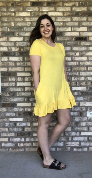 Bright Yellow Ruffle Dress