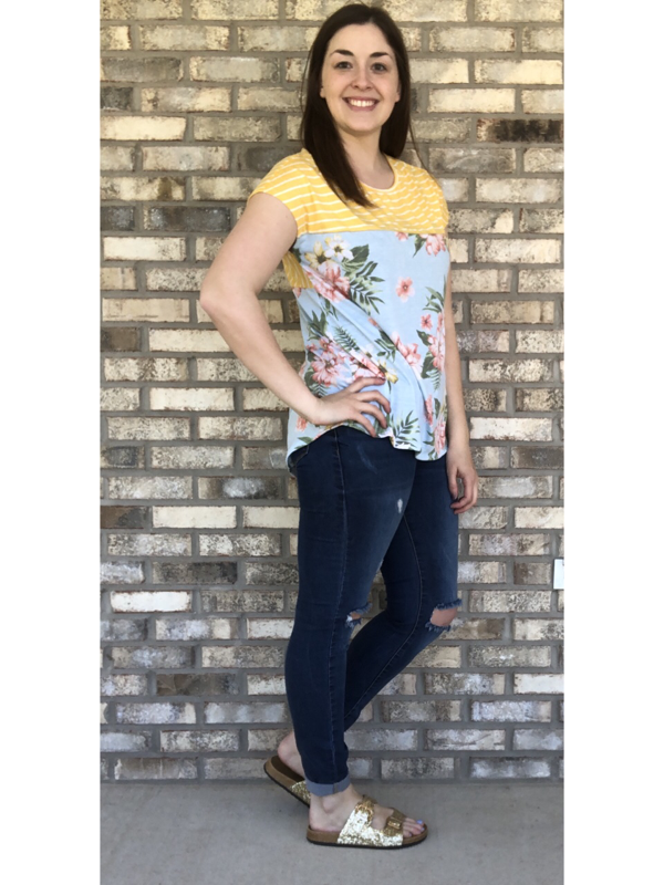 Blue Floral with Yellow Striped Crisscross Back Top