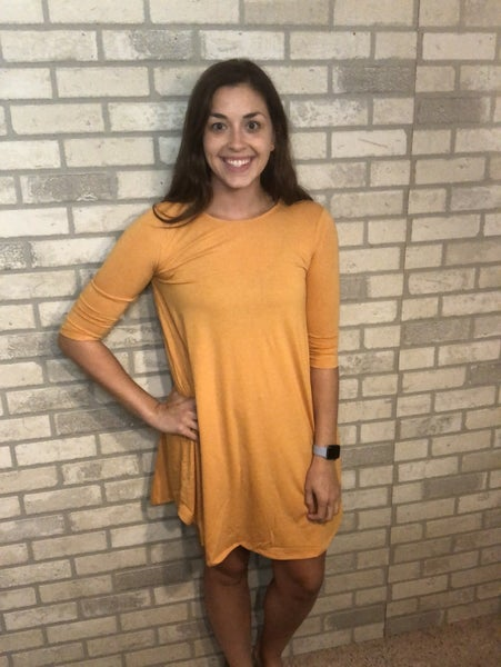 Mustard 3/4 Sleeve Dress