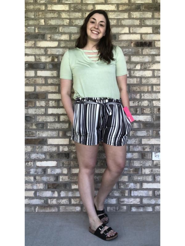 Black Striped Tie Shorts