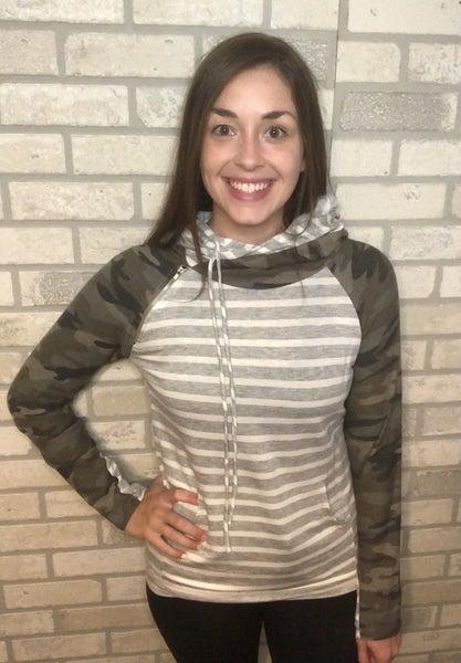 Camo & Stripes Double Hoodie