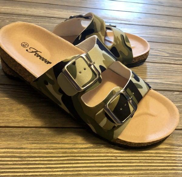 Camo Buckle Sandals