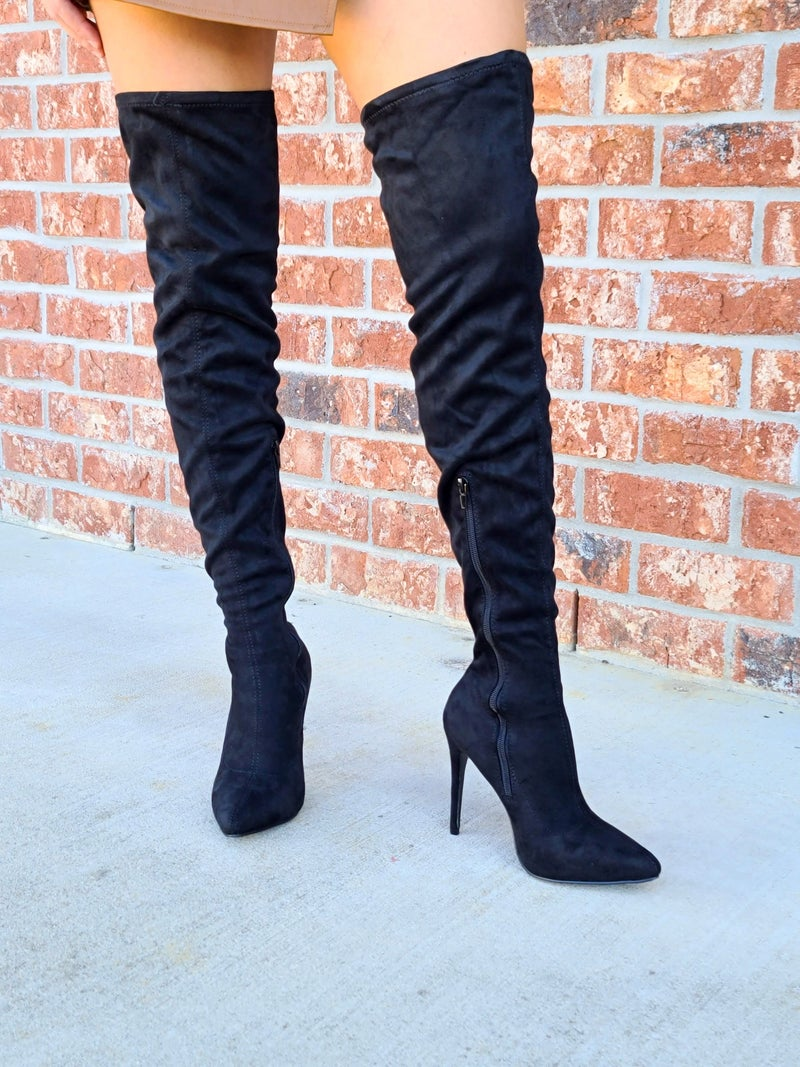 SALE / Black over the knee boots