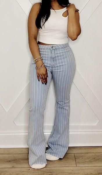 High Rise Pinstripe Jean