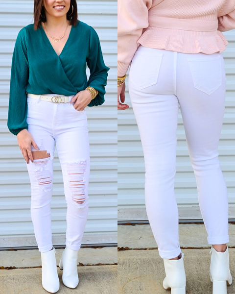 White Shredded Skinny Jean