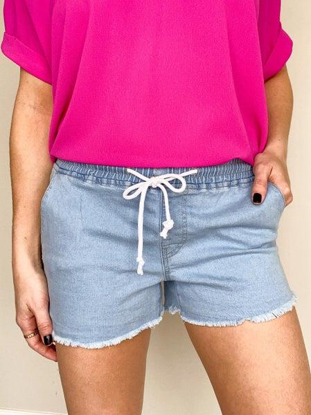 Chambray High Rise Shorts