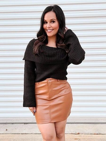 Camel Leather Skirt