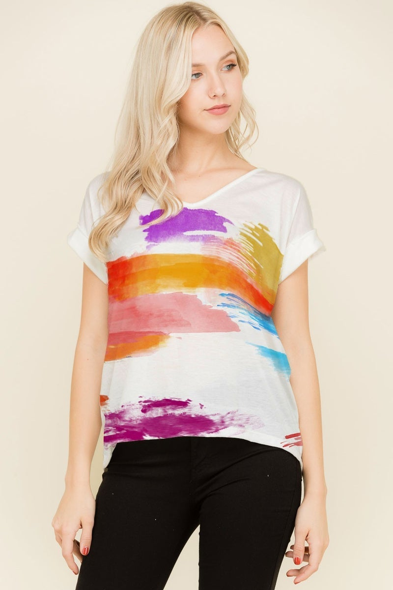 PHIL LOVE MULTI BRUSH PRINT TOP