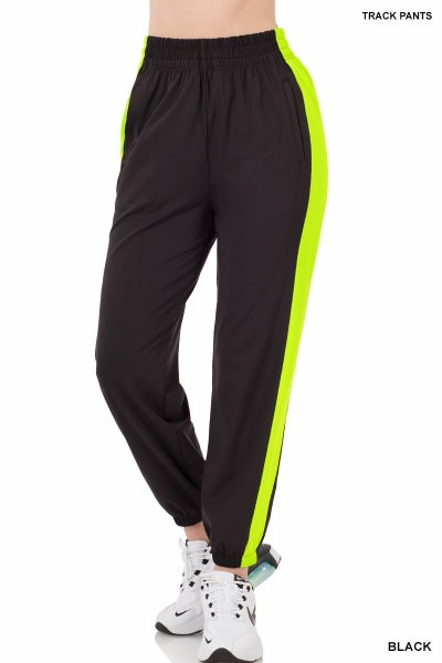 ZENANA TRICOT TRACK PANTS WITH SIDE PANELS