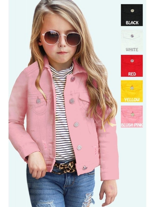 Girl's Basic Wash Bulk Denim Jacket