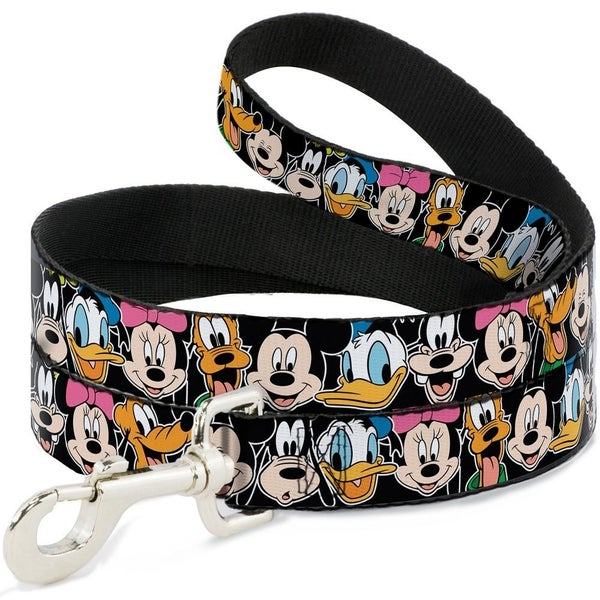 BUCKLE DOWN DOG LEASH - CLASSIC DISNEY CHARACTER FACES BLACK