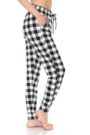 BLACK & WHITE CHECKERED JOGGERS