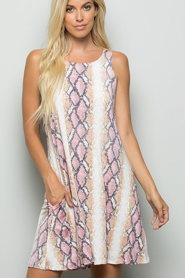 SLEEVELESS SNAKE PRINT DRESS WITH SIDE POCKET