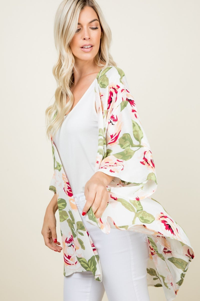 3/4 SLEEVE OPEN FRONT FLORAL PRINTED CARDIGAN