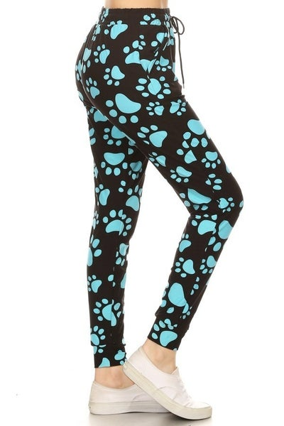 BLUE PAW PRINT BUTTERY SOFT JOGGERS