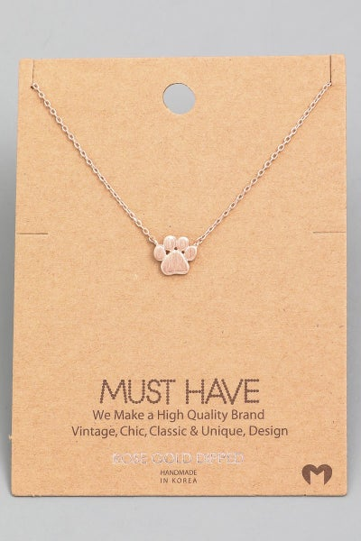 Mini DOG Paw Print Charm Necklace