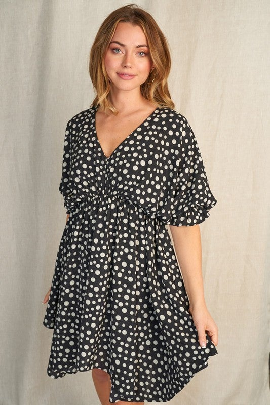 Short Sleeve Polka Dot Print Woven Dress