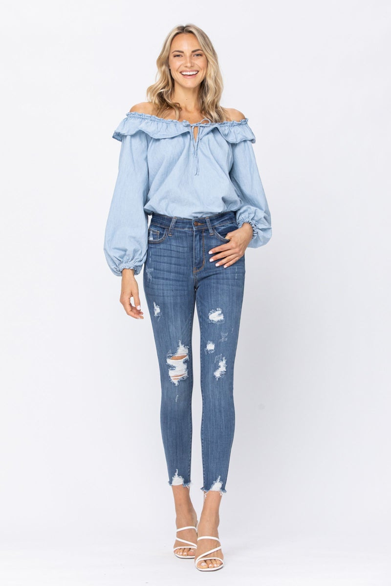 JUDY BLUE High Rise Cropped Destroyed Skinny