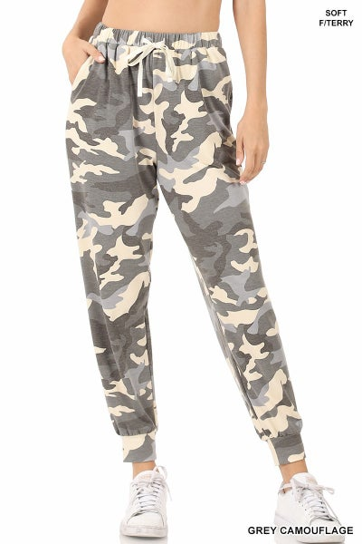 ZENANA SOFT FRENCH TERRY CAMOUFLAGE PRINTED JOGGER PANTS