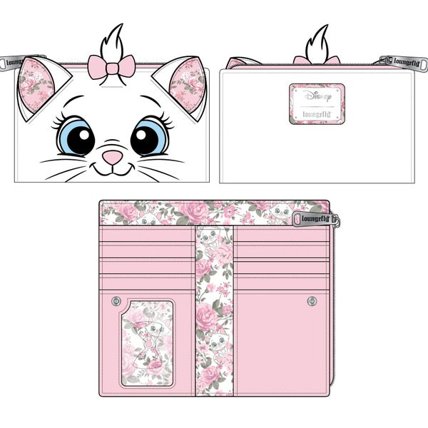 LOUNGEFLY DISNEY MARIE FLORAL FACE FLAP WALLET (PRE-ORDER, JUNE 2021)