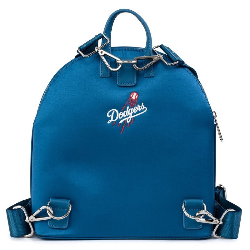LOUNGEFLY X MLB LA DODGERS SATIN JACKET CONVERTIBLE MINI BACKPACK
