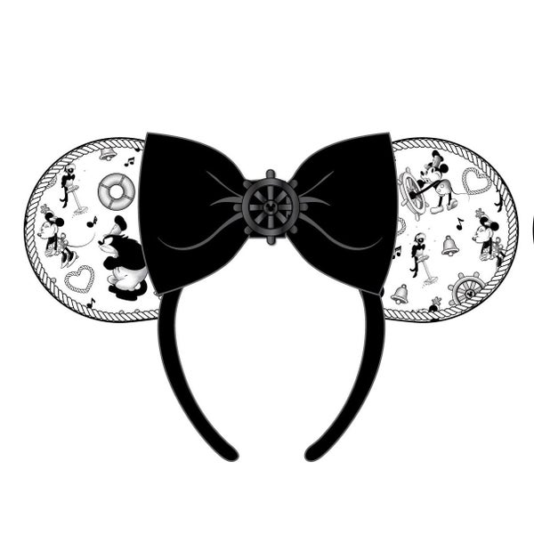 LOUNGEFLY DISNEY STEAMBOAT WILLIE EARS BOW ROPE PIPING HEADBAND (PRE-ORDER, JUNE 2021)