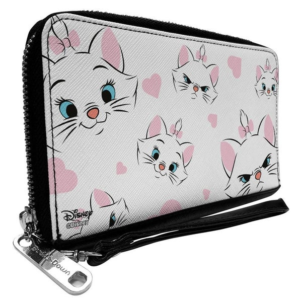 BUCKLE DOWN ZIP AROUND WALLET - ARISTOCATS MARIE EXPRESSIONS HEARTS SCATTERED WHITE PINK