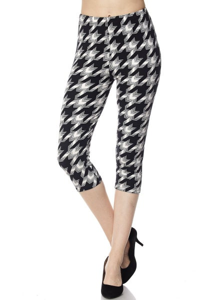 Houndstooth Print Yummy Brushed Capri Leggings