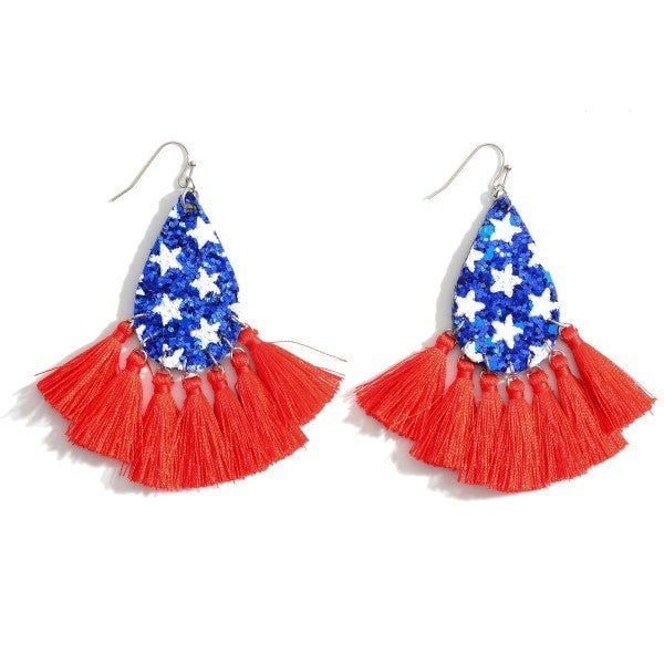 Patriotic Themed Sequin Tear Drop Earrings Featuring Tassel Accents