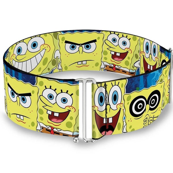 BUCKLE DOWN CINCH WAIST BELT - SPONGEBOB EXPRESSIONS STRIPE BLUE