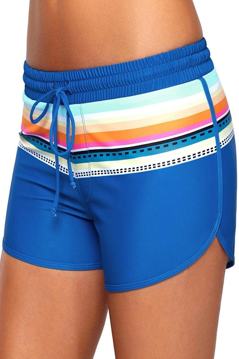 Striped Print Accent Drawstring Board Shorts