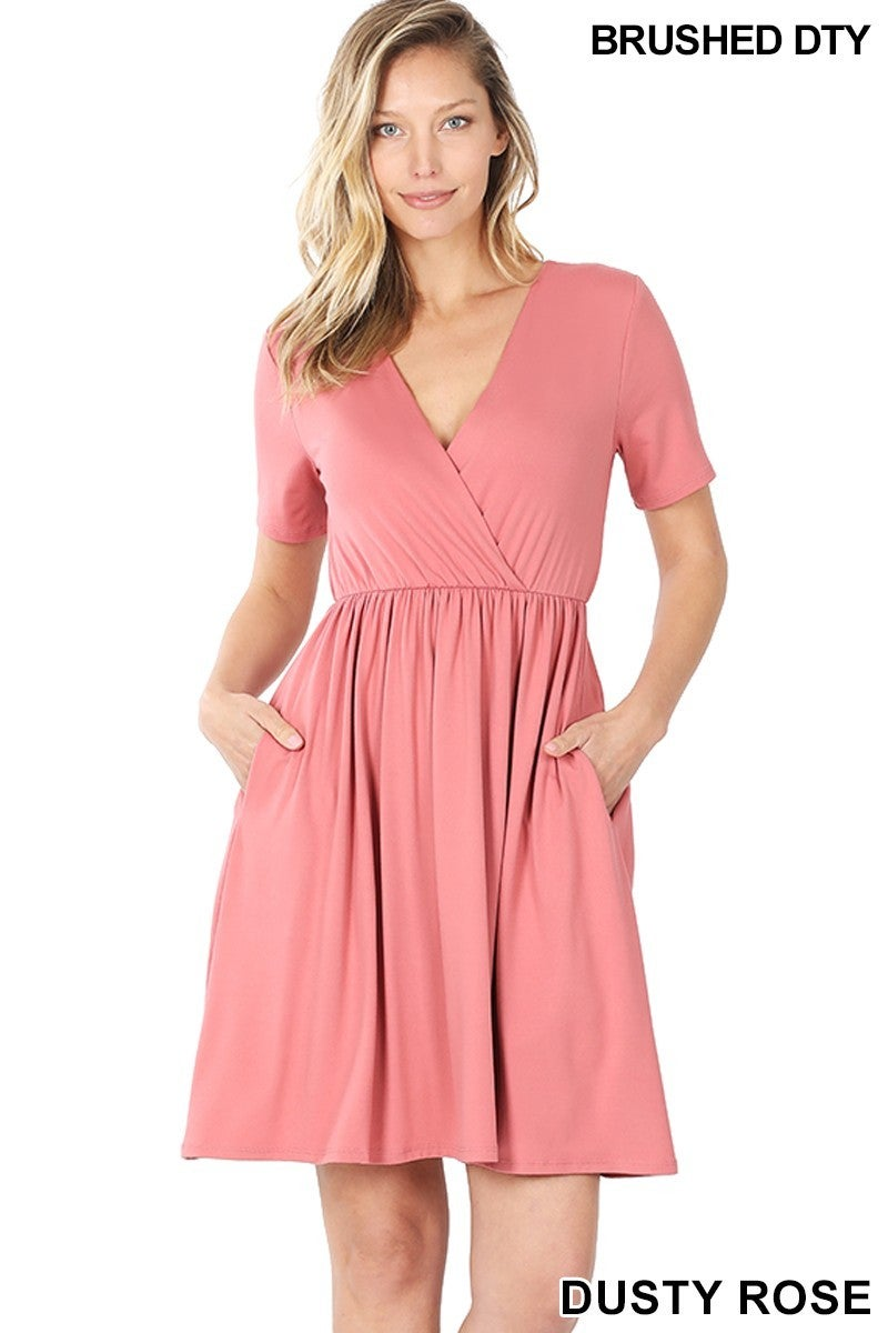 BRUSHED DTY BUTTERY SOFT FABRIC SURPLICE DRESS