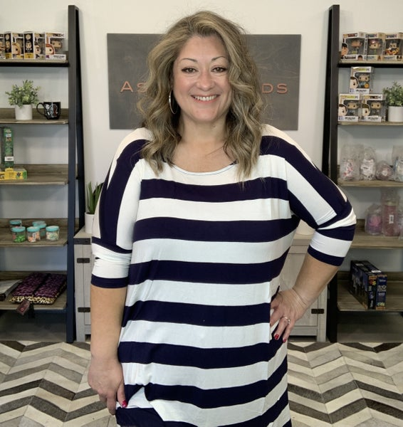 STRIPE FABRIC DROP SHOULDER BOXY TOP