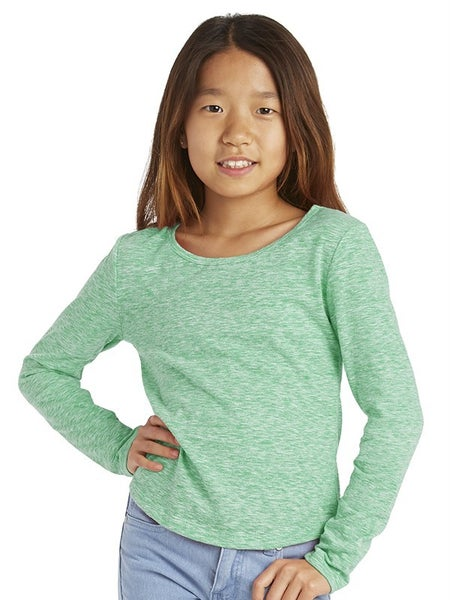 GIRL'S HEATHER LONG SLEEVE SOLID TOP