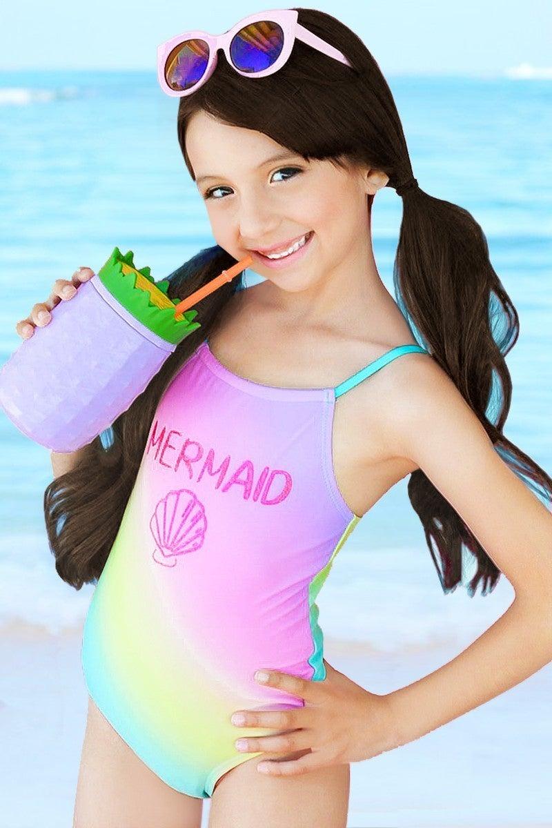 Girl's One Piece Swimwear w/ Glitter Mermaid Shell Print & Rainbow Ombre