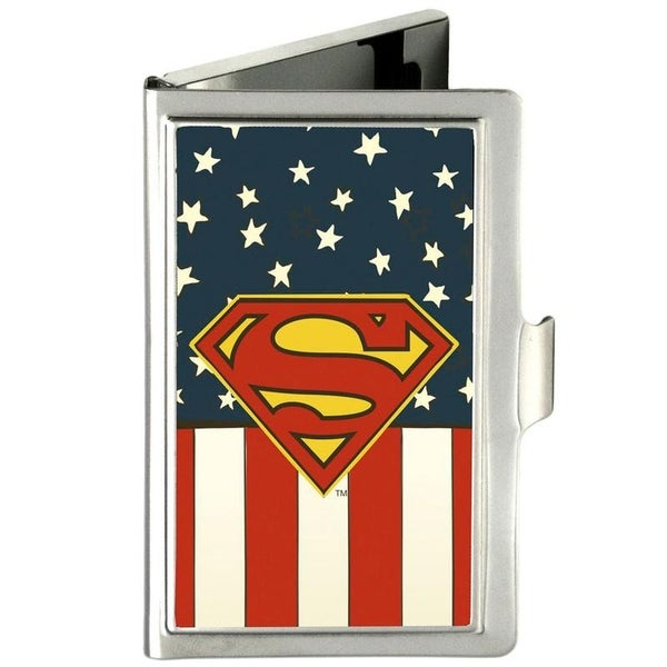 BUCKLE DOWN BUSINESS CARD HOLDER - SUPERMAN SHIELD AMERICANA FCG RED WHITE BLUE YELLOW