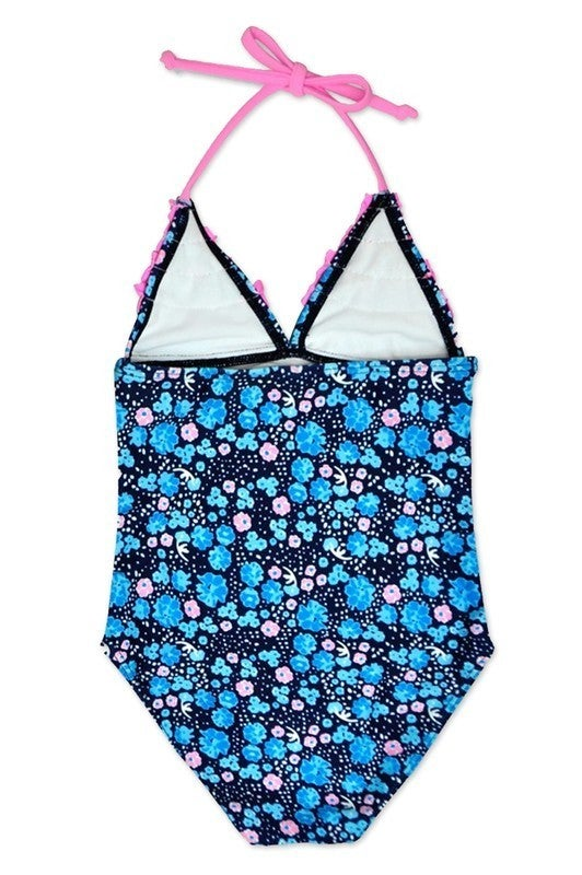 Girl's  One Piece Swimwear w/  Ruffle and Halter