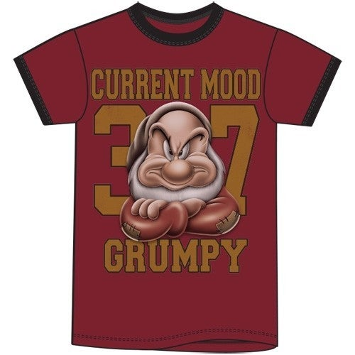 Adult Ringer Tee Back Off Grumpy Mood, Cardinal Black