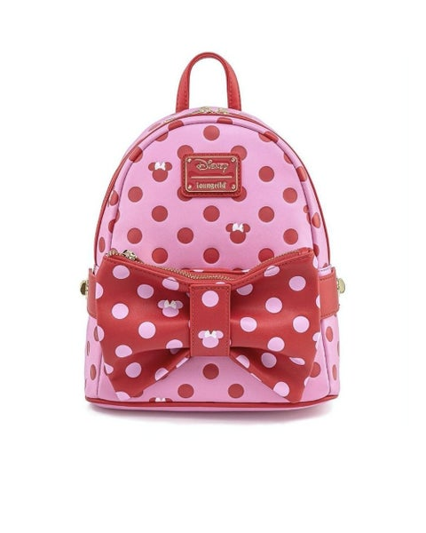 LOUNGEFLY DISNEY MINNIE MOUSE DOTS AOP BOW FANNY PACK MINI BACKPACK