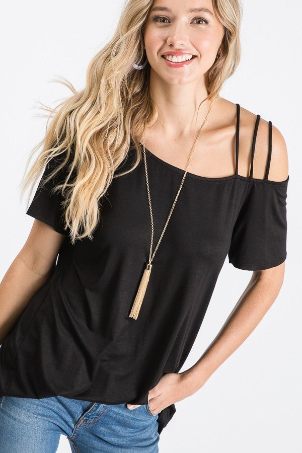 HEIMISH SHORT SLEEVE COLD SHOULDER SOLID TOP