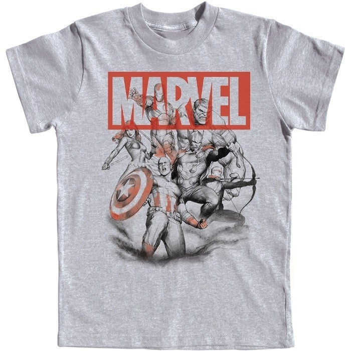 Youth T-Shirt Avengers Assembled Captain America, Thor, Hulk, Gray