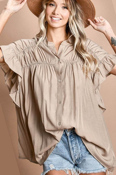 BIBI LOOSE FIT SLIKY WOVEN SHIRRIED SHIRT WITH FRONT