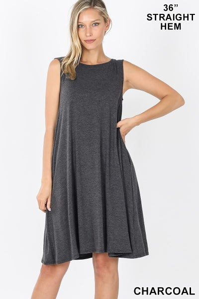 ZENANA SLEEVELESS FLARED DRESS WITH SIDE POCKETS