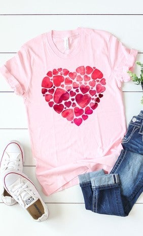 WATERCOLOR HEART GRAPHIC TEE