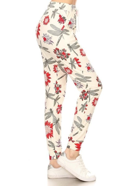 FLORAL & DRAGONFLY BUTTERY SOFT JOGGERS