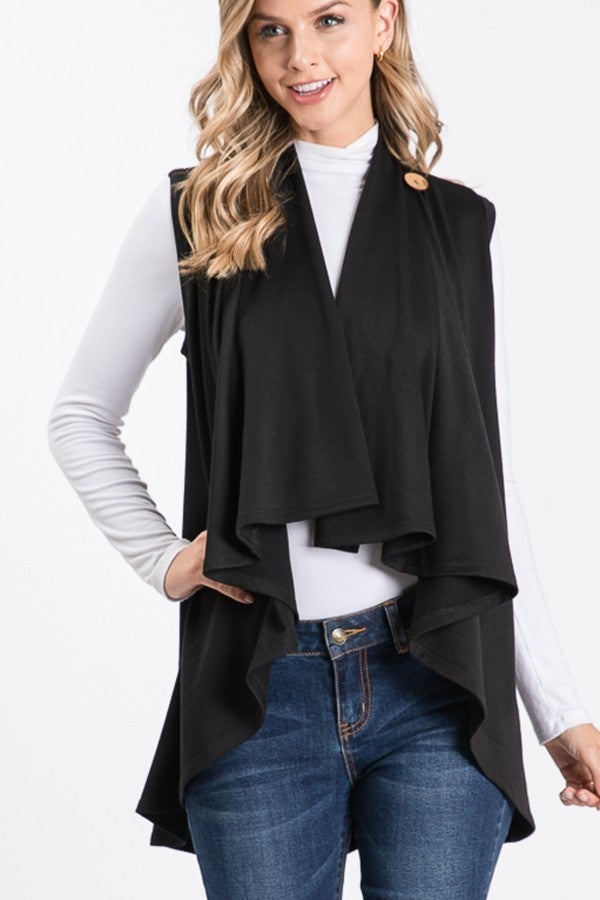SLEEVELESS SOLID DRAPED VEST CARDIGAN