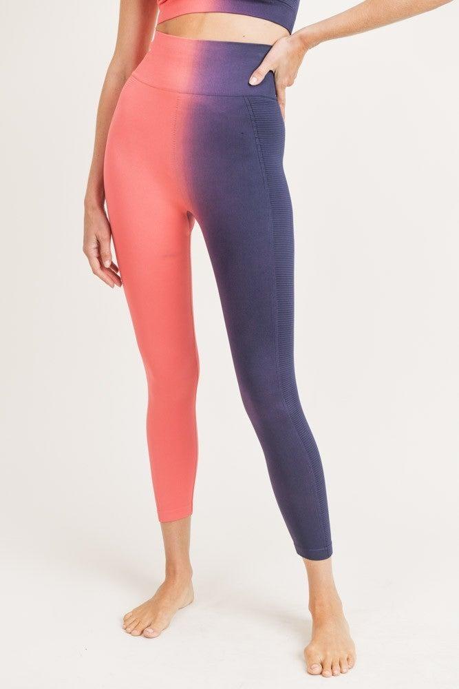 MONO B Side Ribbed Split Dye Seamless Highwaist Leggings