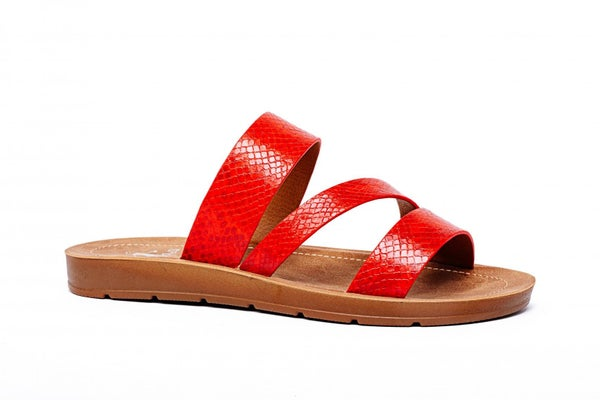 CORKYS LYDIA SANDALS - RED SNAKE