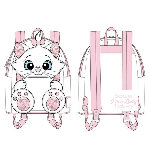 LOUNGEFLY DISNEY MARIE FLORAL FOOTSY MINI BACKPACK (PRE-ORDER, JUNE 2021)