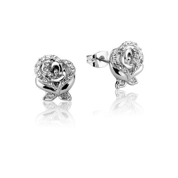 COUTURE KINGDOM Disney Beauty and the Beast Enchanted Rose Crystal Stud Earrings - WHITE GOLD